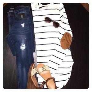 White & Navy striped tunic